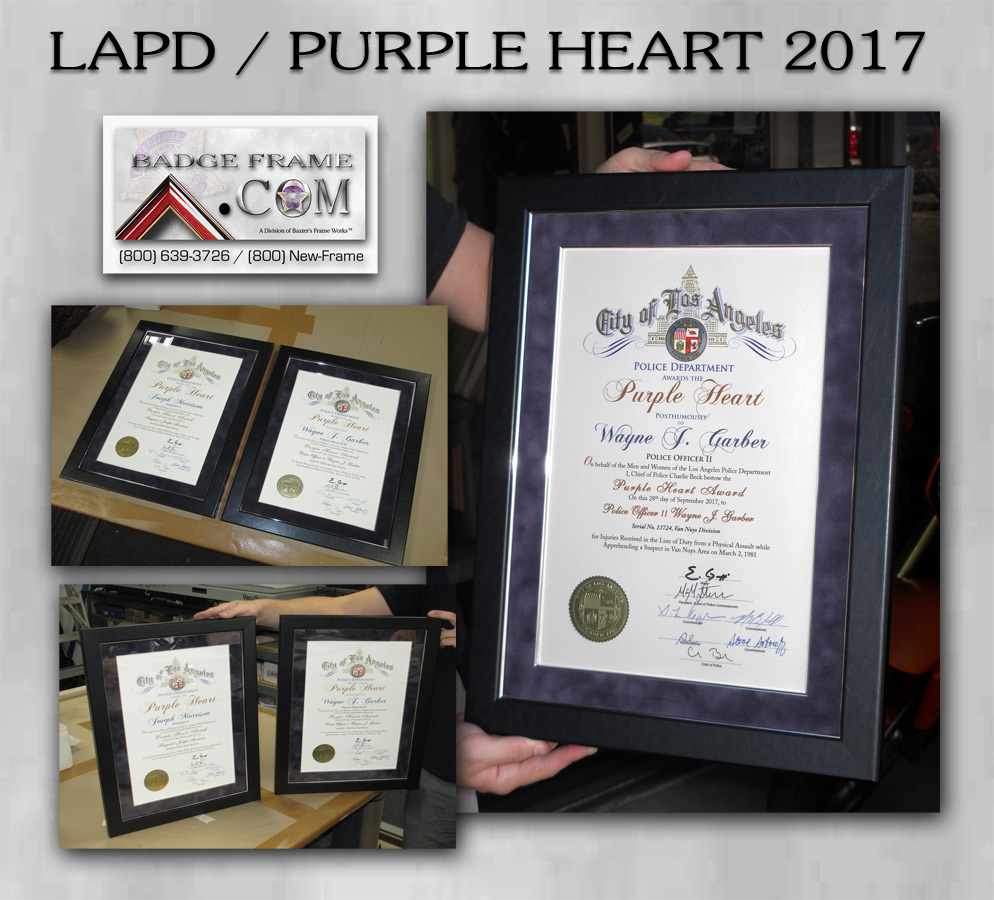LAPD Purple Heart Awards from Badge Frame 2017