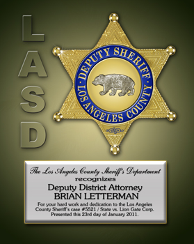 LASD Certificate Sample -Badge Frame