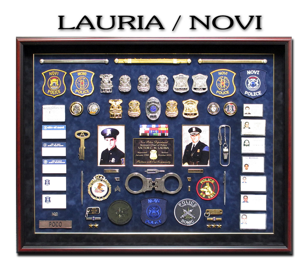 Lauria - Novi PD Police Retirement             Shadowbox Presentation from Badge Frame