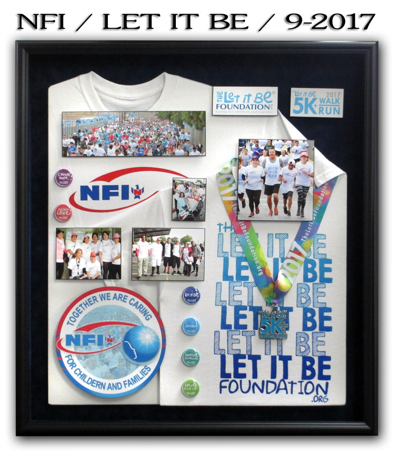 Let It Be Foundation and NFI t-shirts framed by Badge Frame