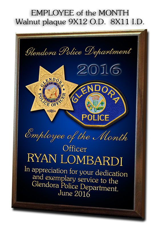Lombardi - Glendora PD - Employee of the Month               presentation from Badge Frame