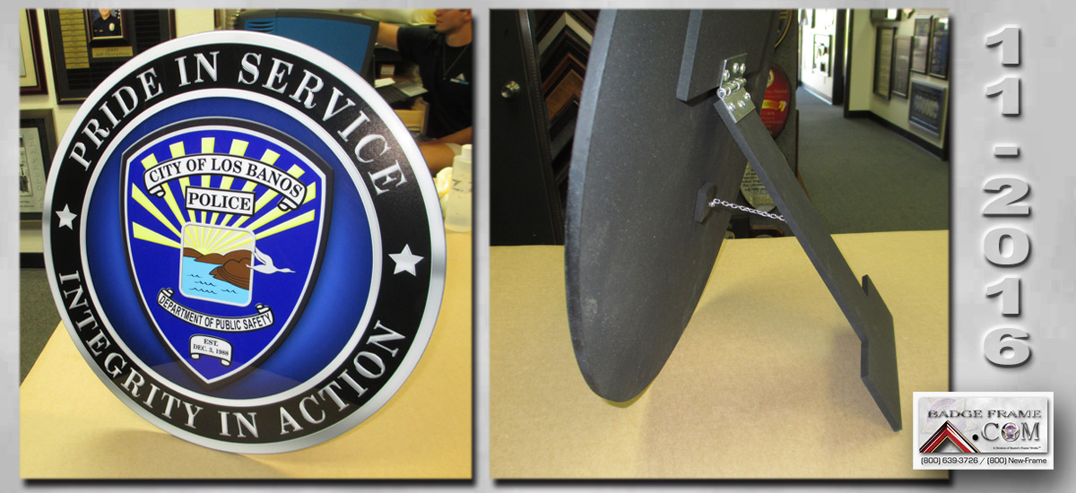Los Banos PD Emblem with hinged easle back.