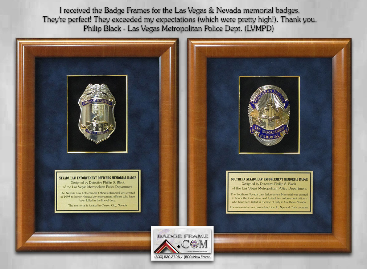 LVMPD Memorial Badges presentation from Badge Frame