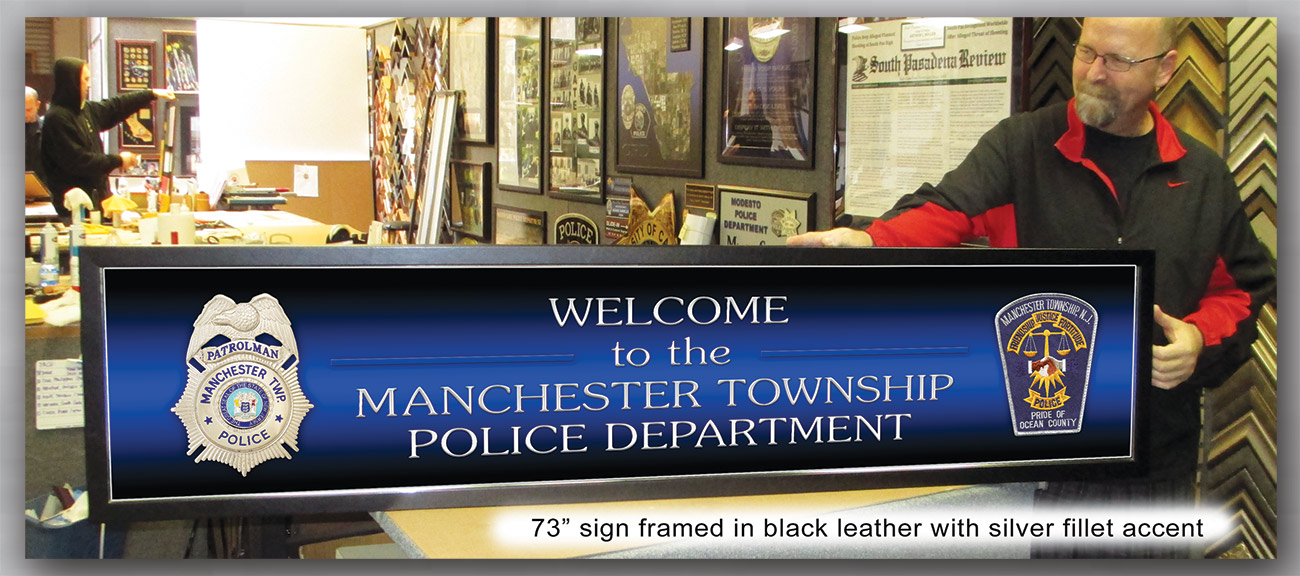 Police Welcome Sign from Badge Frame for Manchester PD
