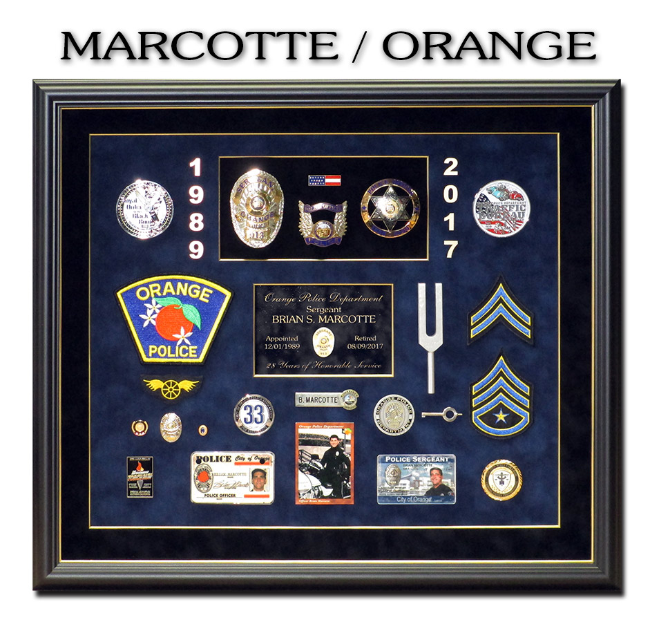 Marcotte - Orange PD - Police Retirement Shadowbox from Badge Frame