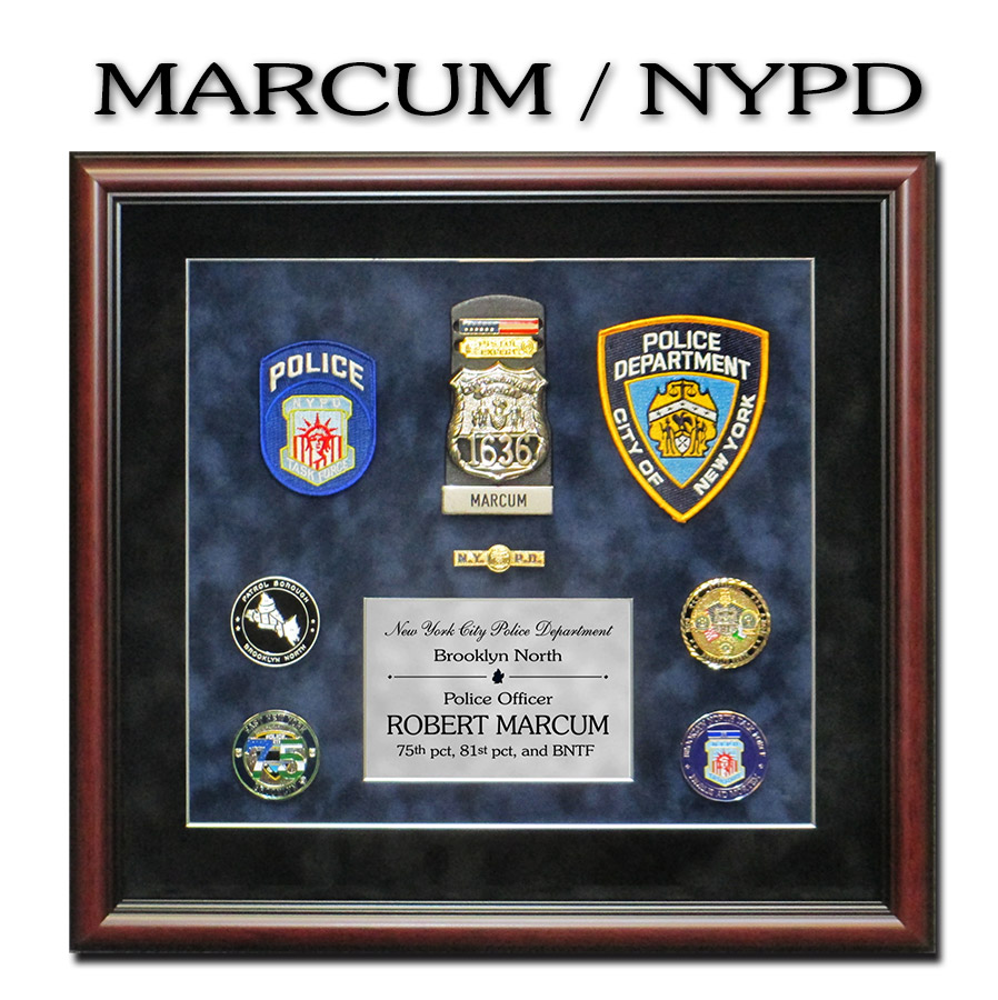 NYPD Police Shadowbox for Marcum from Badge Frame