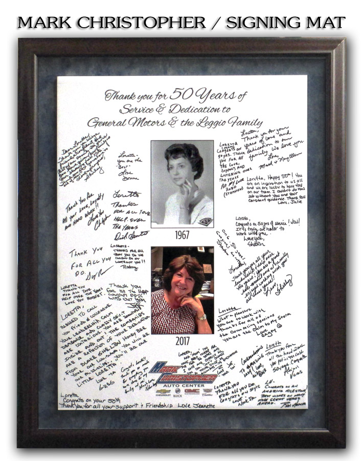 Mark Christopher Auto Center / Signing Mat from Badge Frame