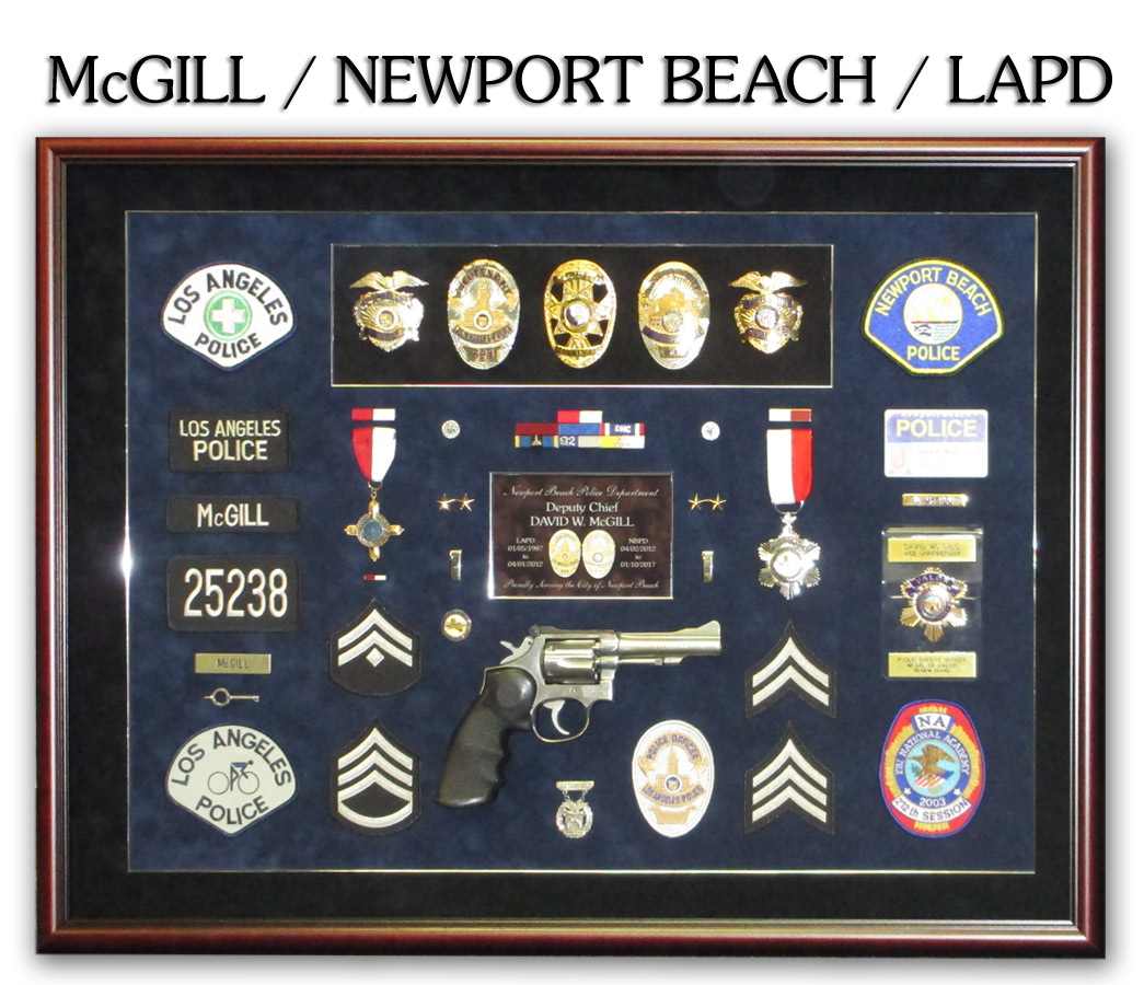 McGill -           Newport Beach PD & LAPD Police Retirement Shadowbox from           Badge Frame