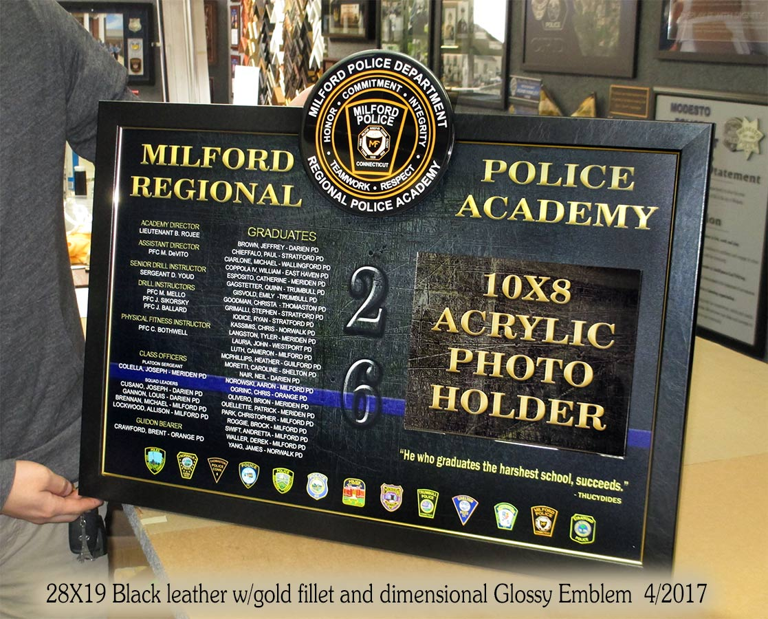 Police Academy Presentation for Milford PD from Badge Frame