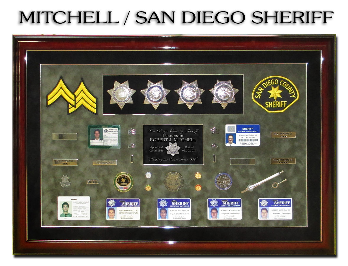 Mitchell - San Diego Sheriff's Office retirement           presentation fom Badge Frame