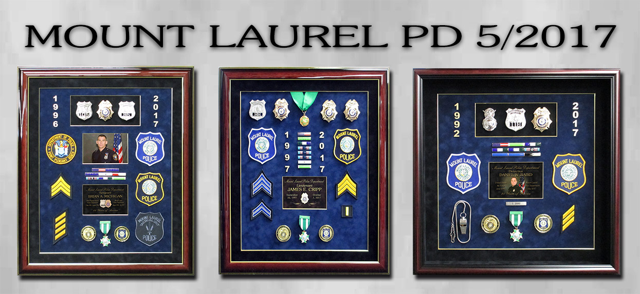 Mount Laurel PD - Police Retirement Shadowboxes from Badge Frame
