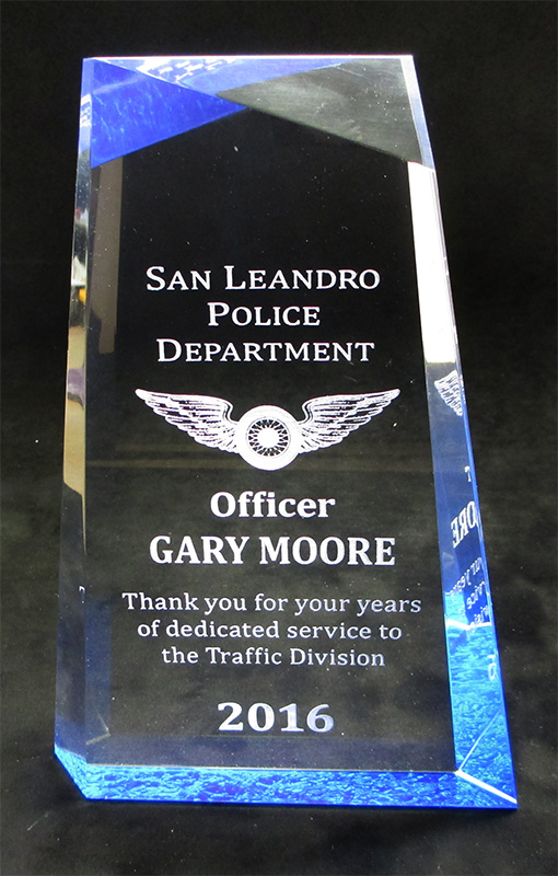 Moore - San                             Leandro PD Traffic Division Acrylic Award                             from Badge Frame