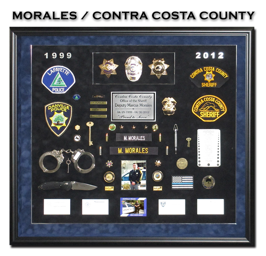 Morales -           Contra Costa County Sheriff Retirement Shadowbox from Badge           Frame