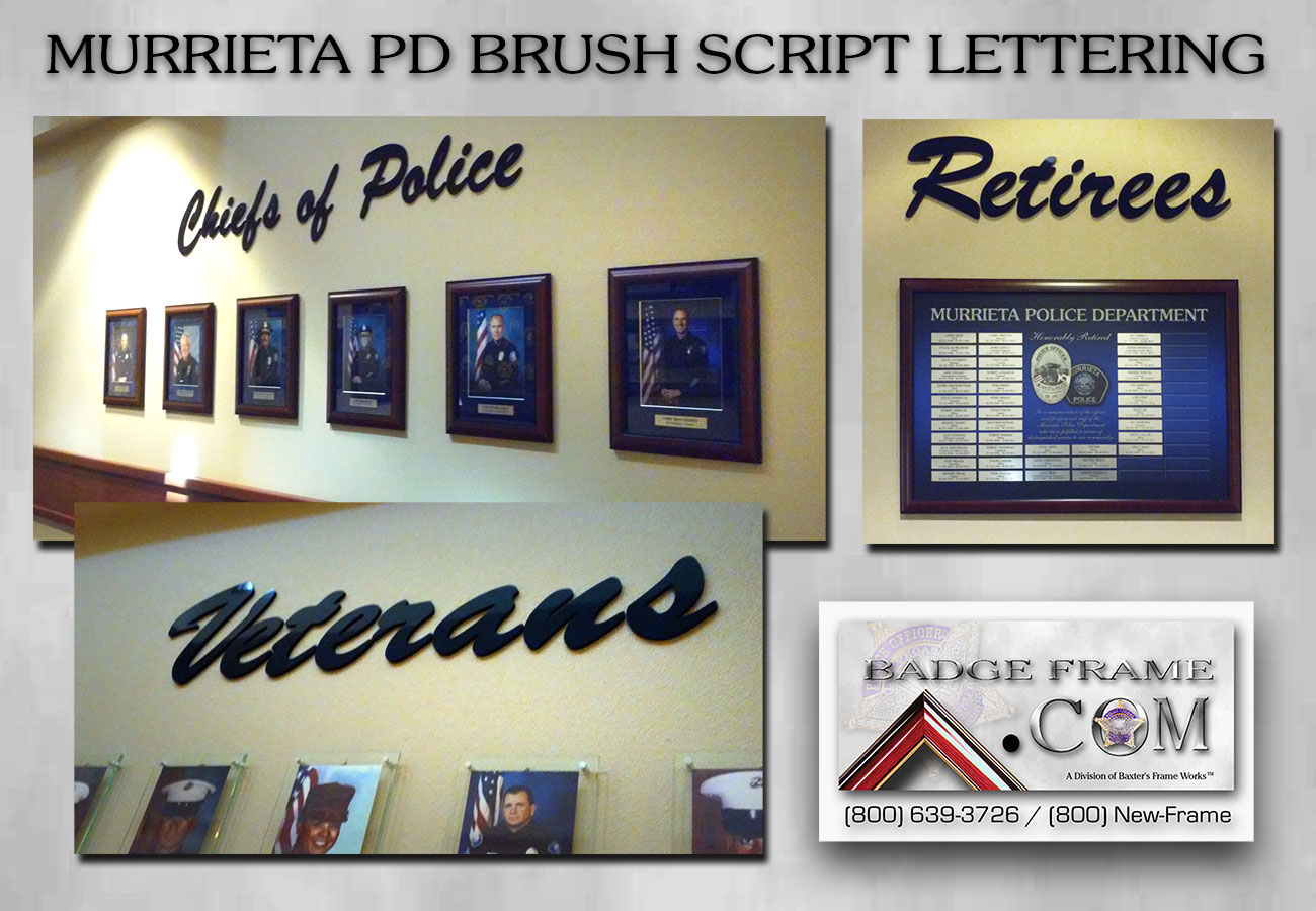 Murrieta PD Wall Lettering from Badge Frame