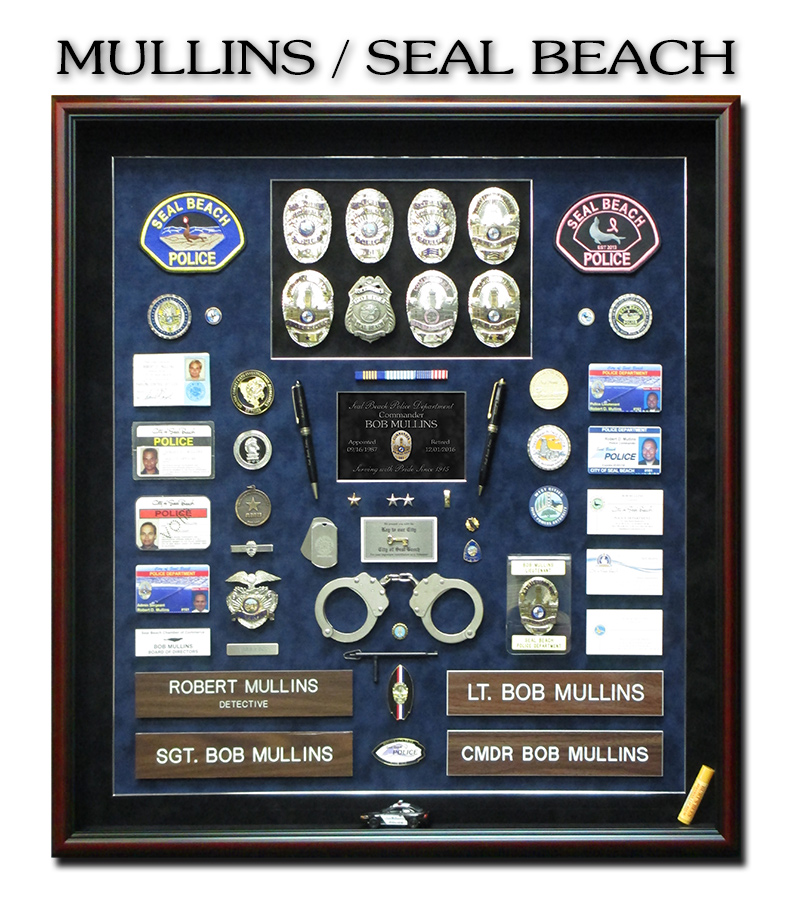 Mullins - Seal Beach PD Retirement  Shadowbox from Badge Frame