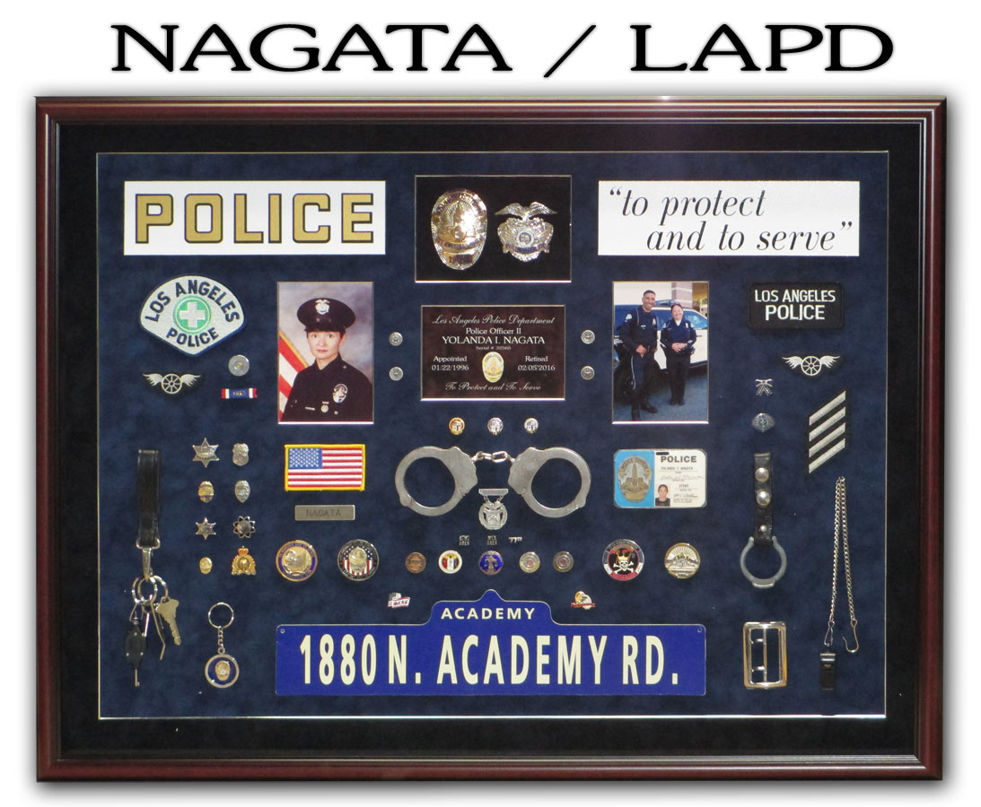 Nagata / LAPD Police Retirement Shadowbox from Badge Frame