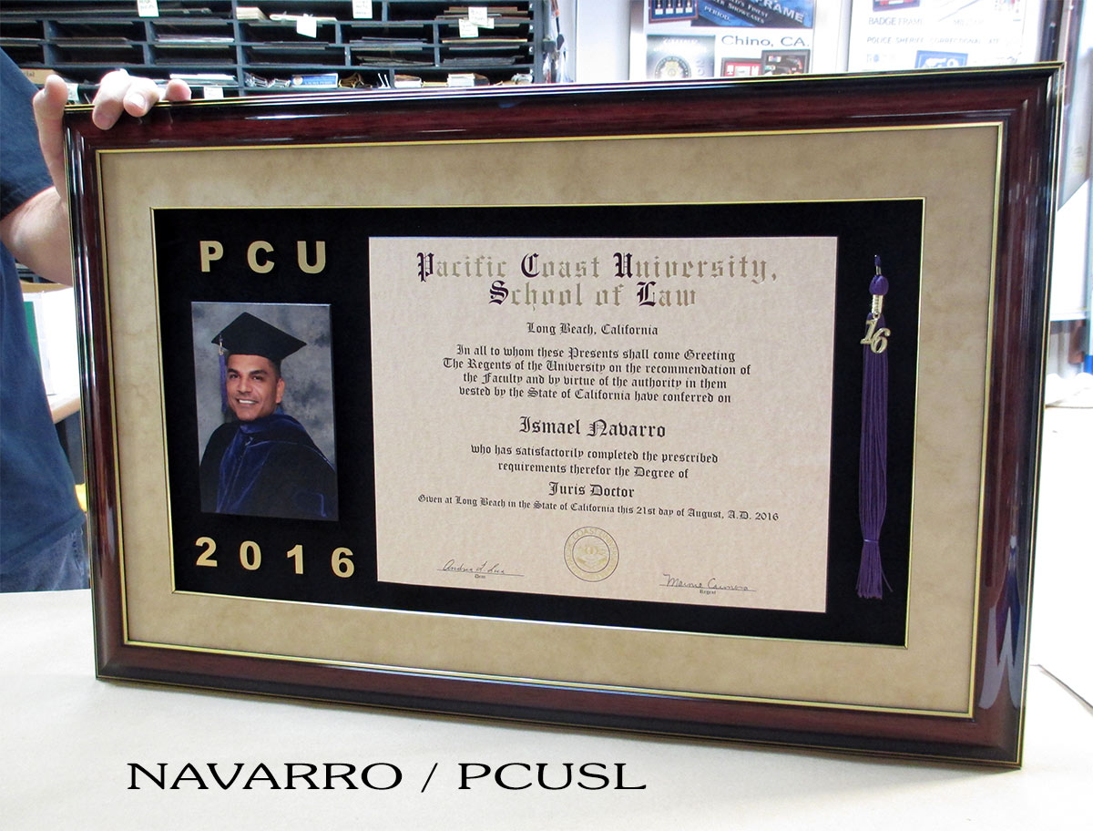 Navarro - Pacifoc University School of Law - Customframing by Badge Frame