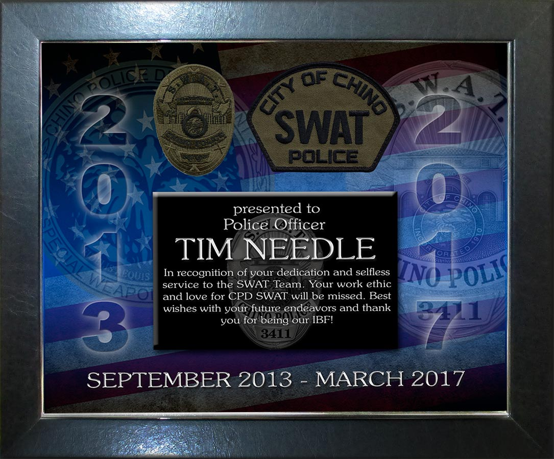 Chino Swat Recognition Plaque from Badge Frame for Needles
