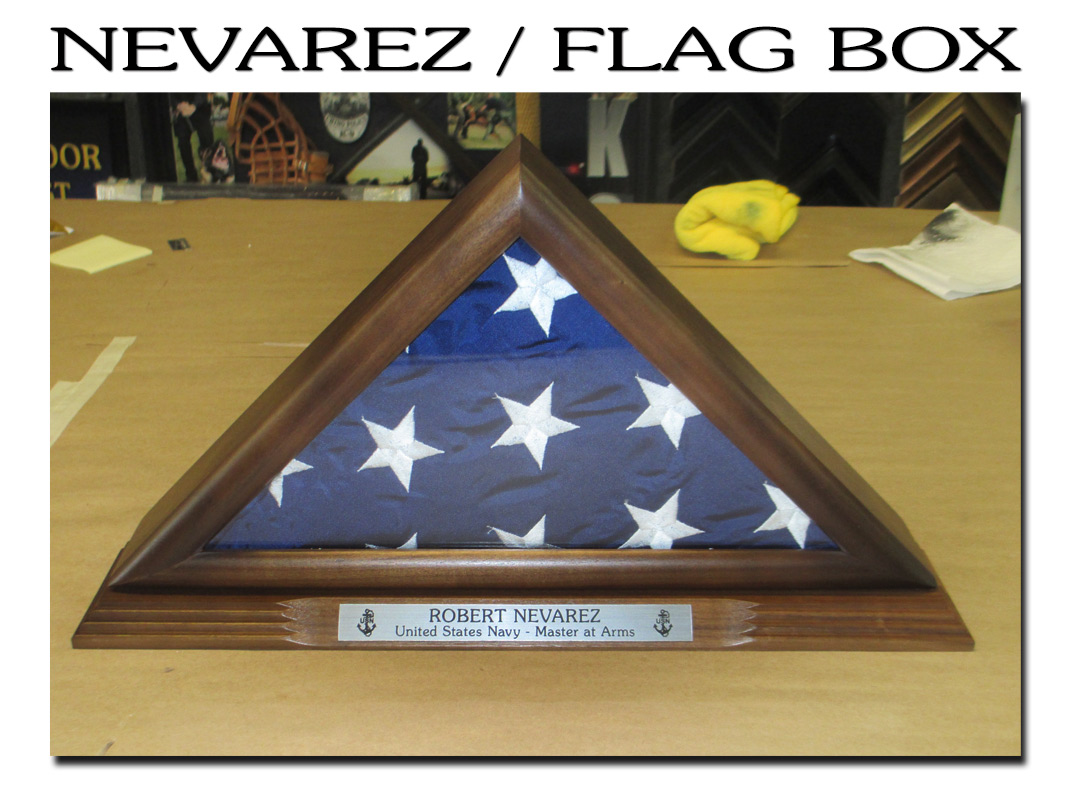 Robert                             Vevarez / U.S. Navy Flag Box from Badge                             Frame