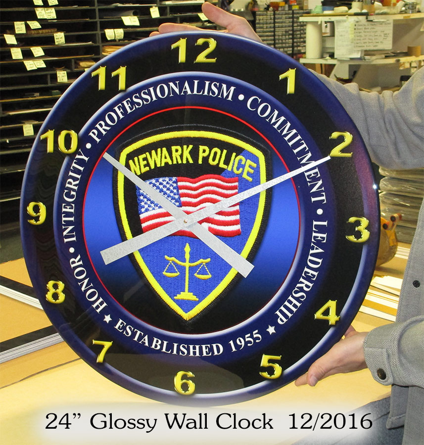 Newark PD - Glossy, custom wall clock from Badge Frame