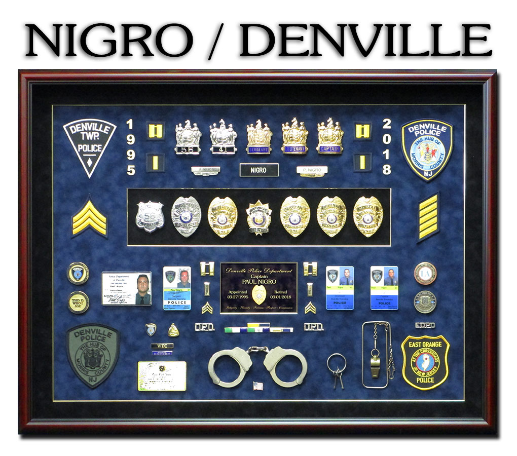 Police Retirement Shadowbox for Nigro at Denville PD from Badge Frame