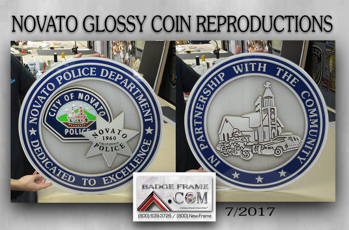 Novato PD - Coin Reproductions from Badge Frame