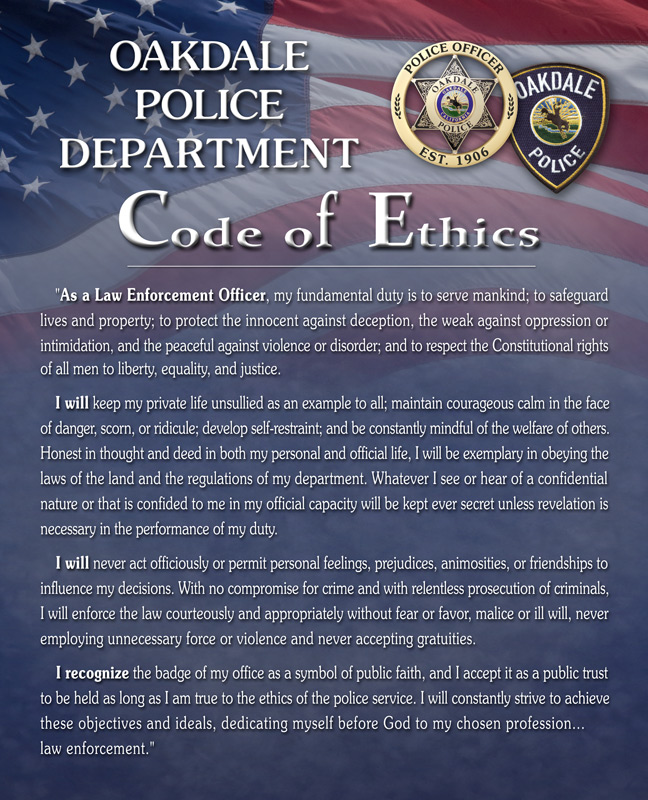 Oakdale PD Ethics presentation from Badge Frame