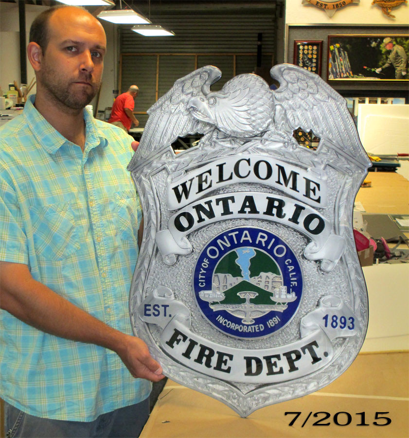 Ontario PD           Front Counter Badge from Badge Frame