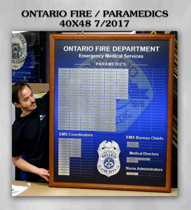Ontario Fire / Paramedics Perpetual Plaque from Badge Frame