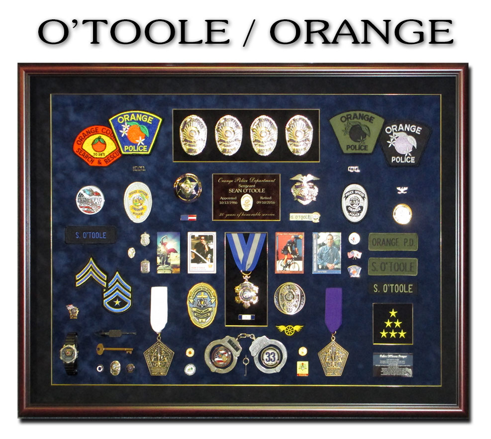 O'Toole - Orange PD Retirememt             Police Shadowbox from Badge Frame
