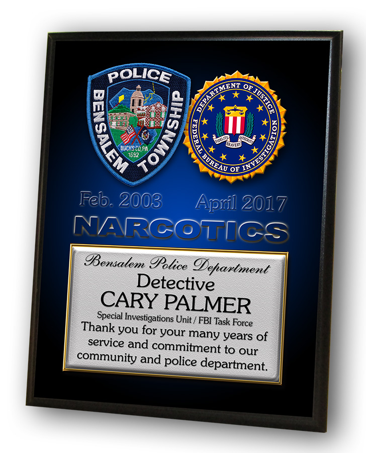 Palmer - Bensalem PD Recognition Plaque from Badge Frame