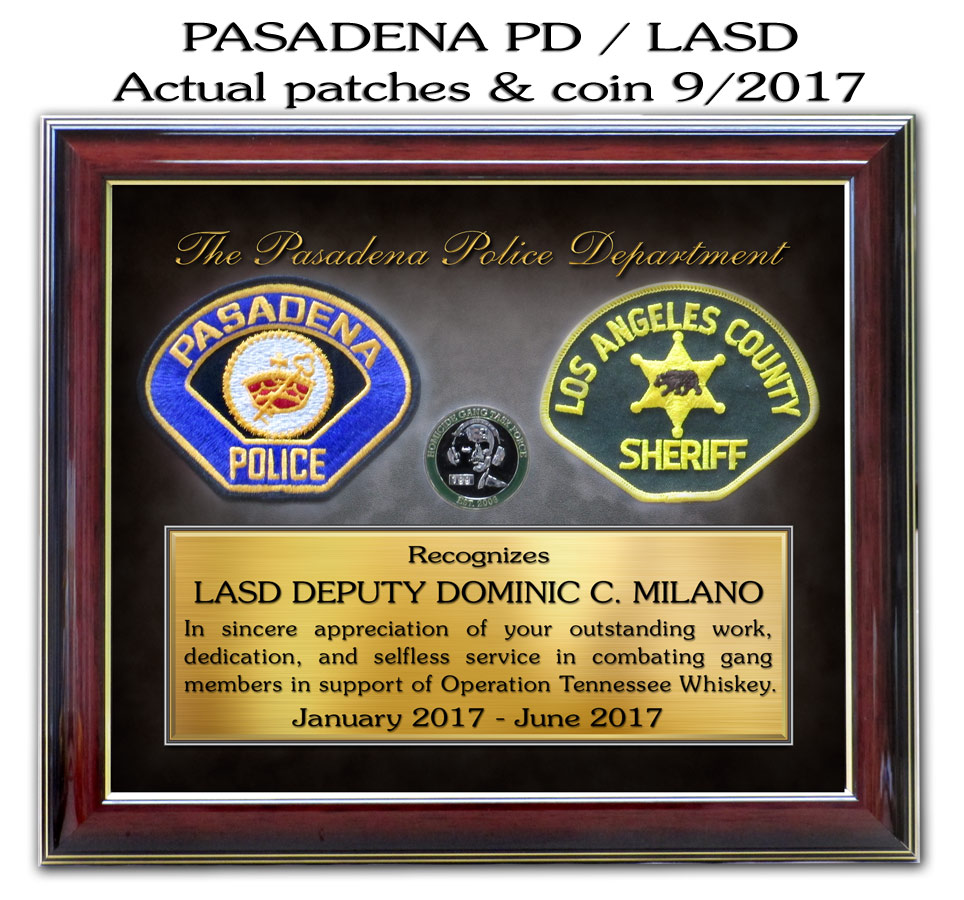 Pasadena PD and LASD Joint Task Force from Badge Frame