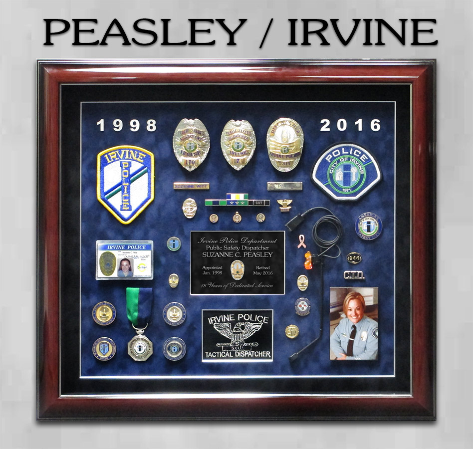 Peasley / Irvine PD Dispatcher Retirement Presentation from Badge Frame