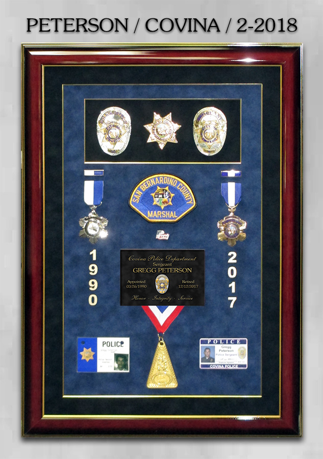 Peterson - Covina Police Department Retirement Presentation from Badge Frame