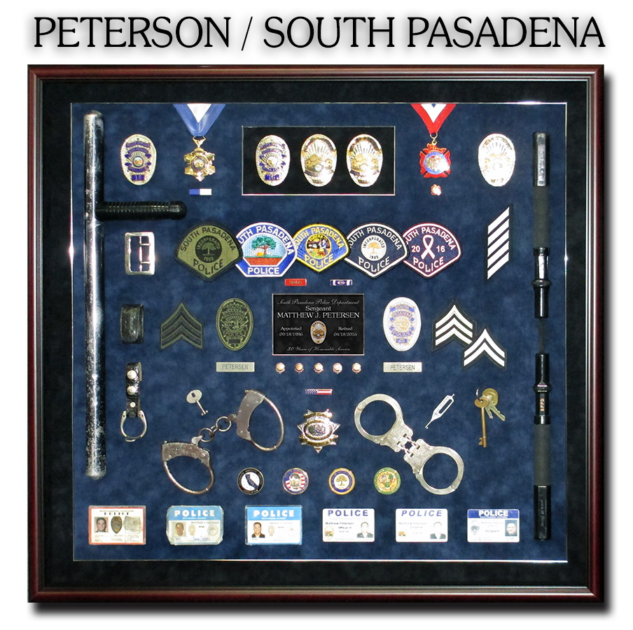 peterson-South Pasadena PD Police Retirement  Shadowbox from Badge Frame