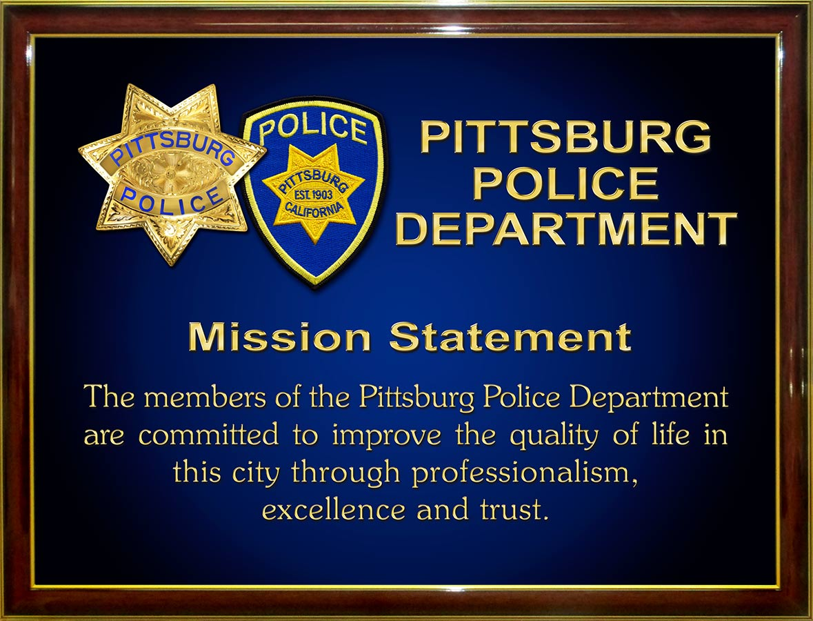 Pittsburg PD Mission Statement from Badge Frame