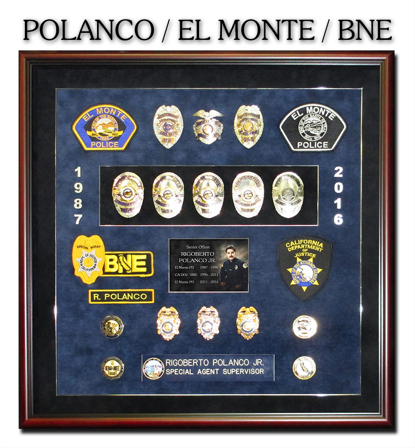 Police Shadowbox fromk Badge Frame from Polanco - El Monte PD