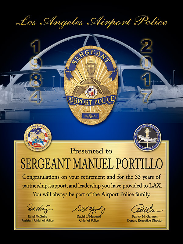 LAWA - Recognition/Retirement plaque           for Portillo from Badge Frame