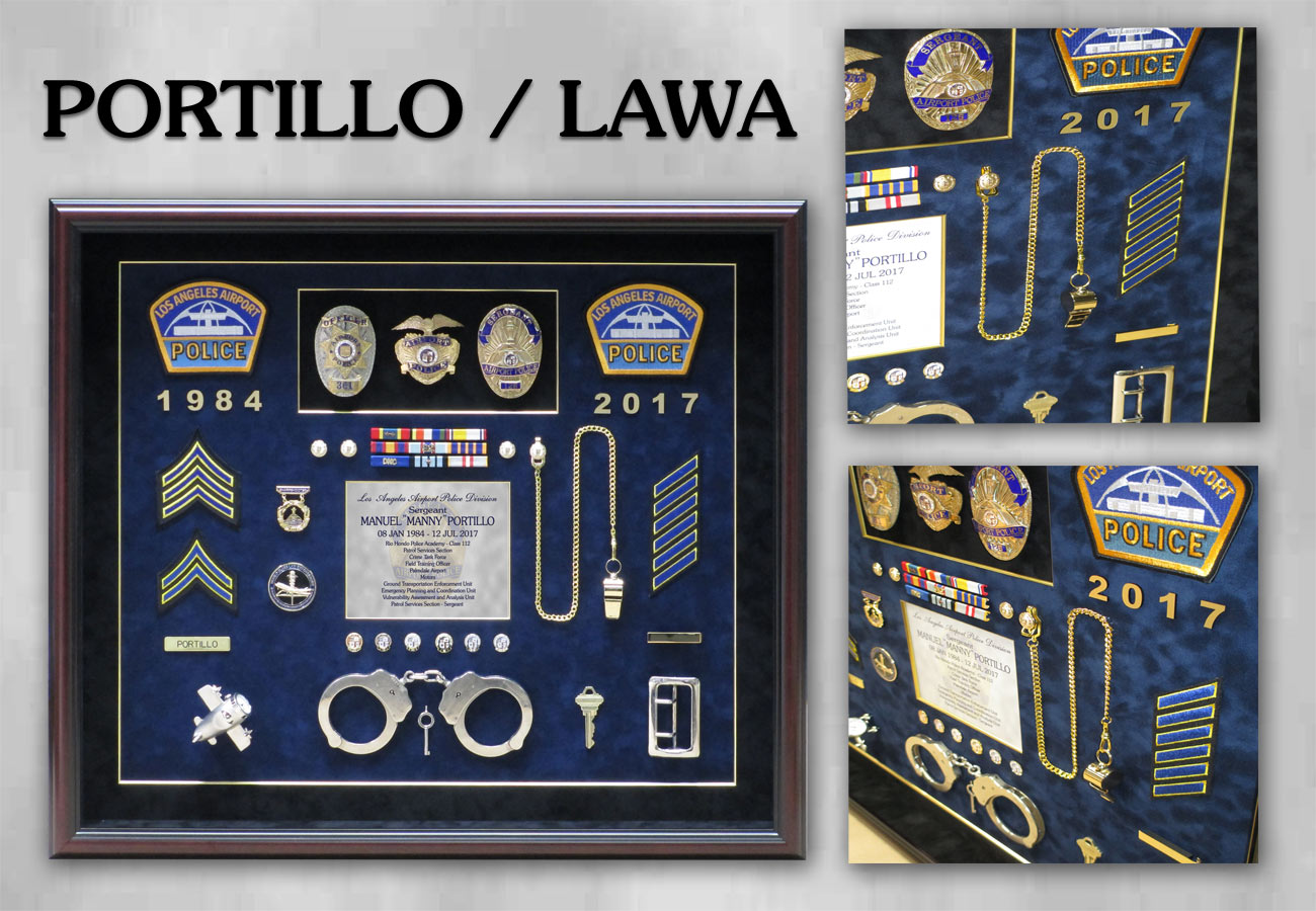 Portillo /             LAWA Police Shadowbox from Badge Frame