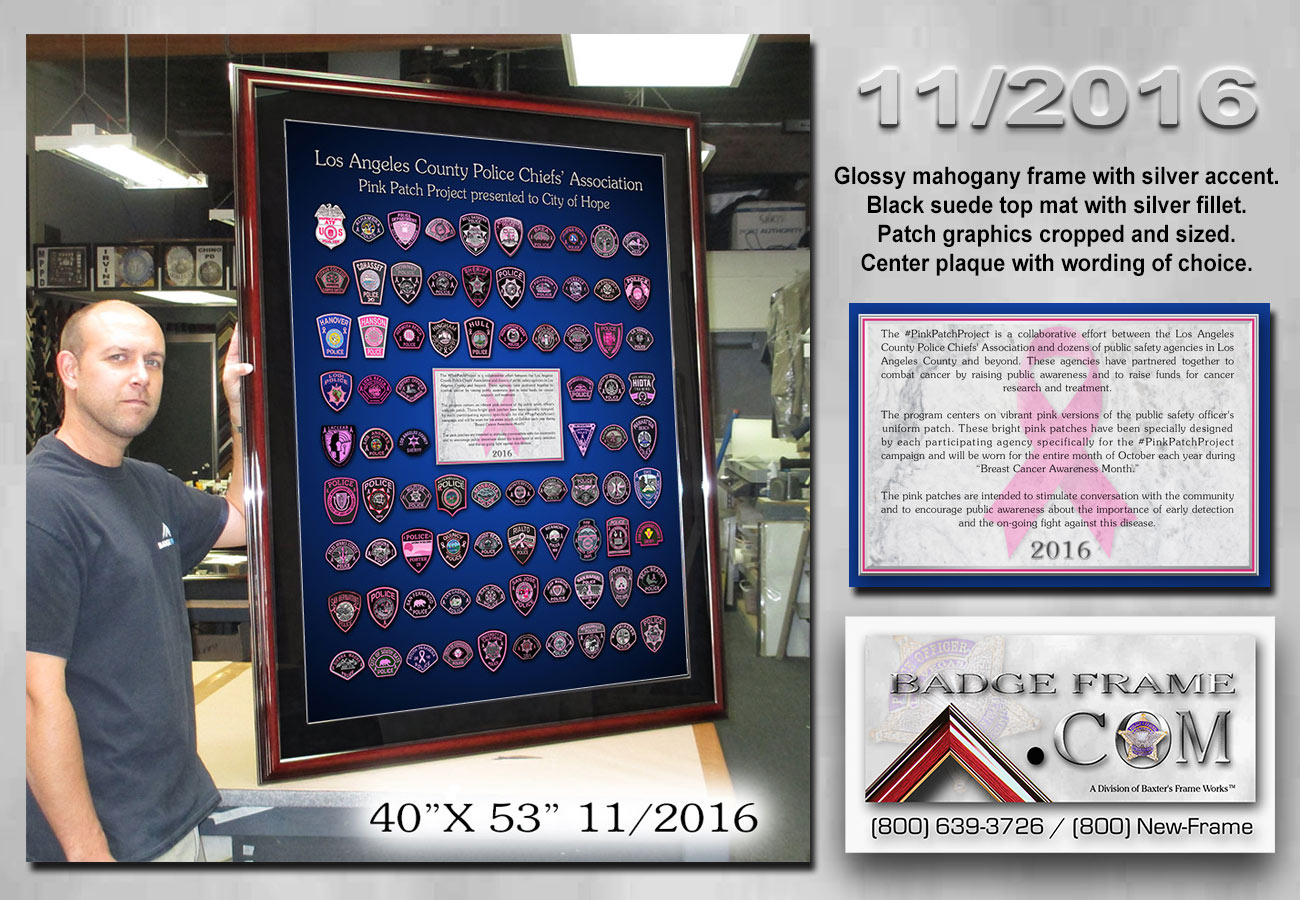 Pink Patch Project framed from Badge Frame (800) 639-3726  11-2016