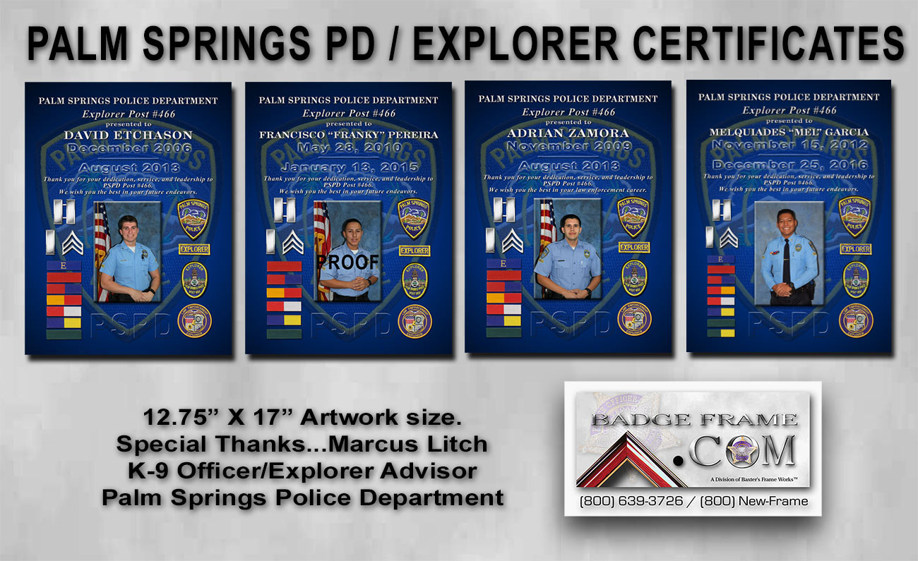 PSPD Explorers Certificates from Badge Frame