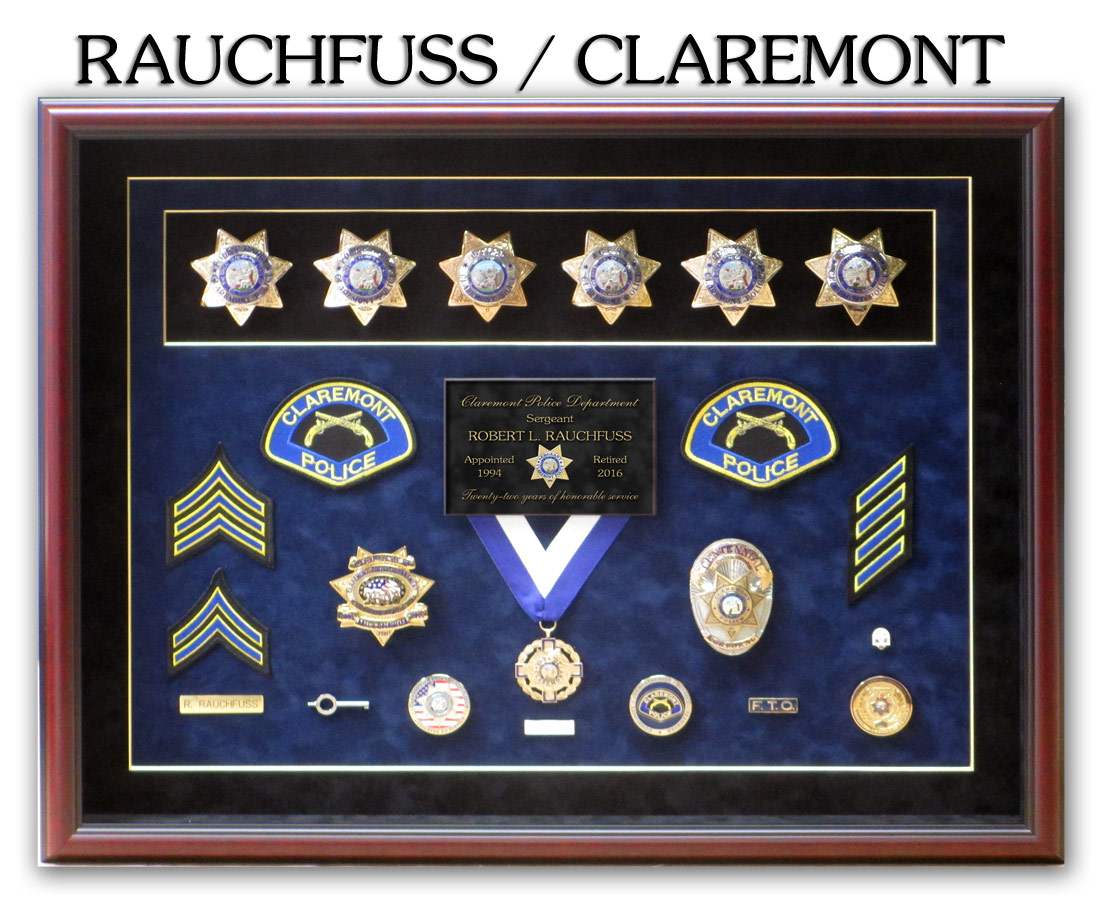 Calremont PD - Rauchfuss Police Retirement Presentation from Badge Frame