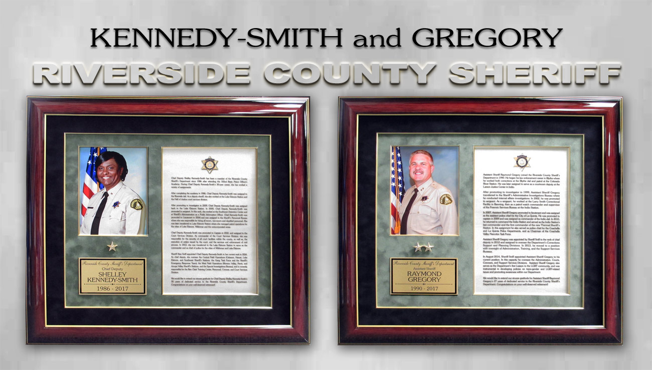 Riverside County           Sheriff Recognition from Badge Frame