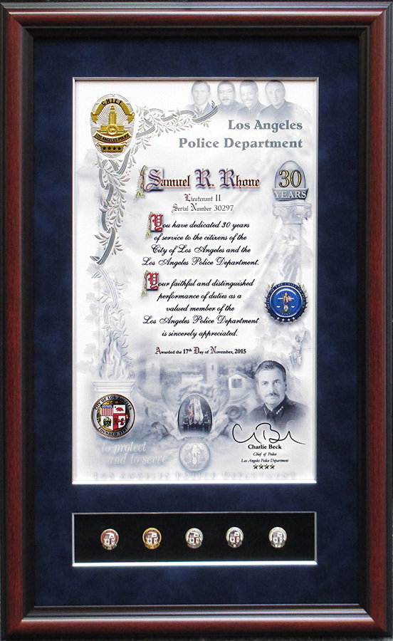Rhone - LAPD Year Pins and Certificate                           from Badge Frame