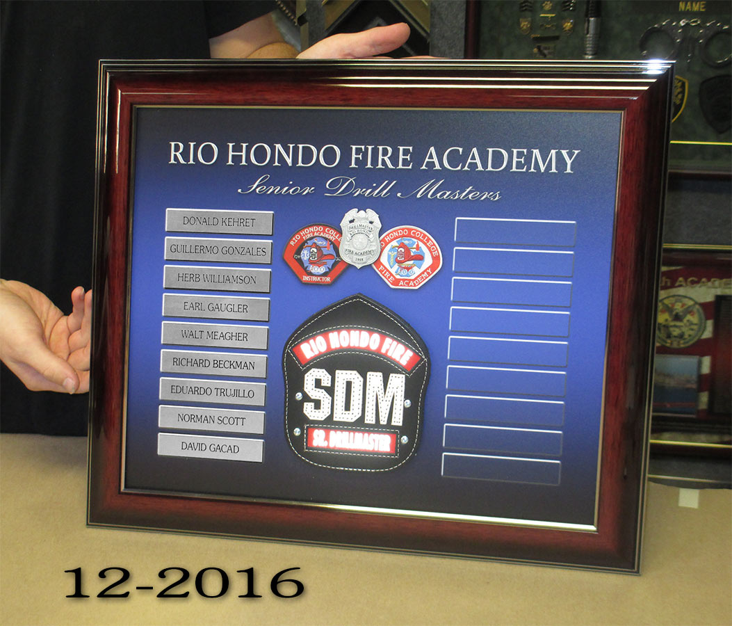 Rio Hondo Fire Academy plaque from Badge Frame