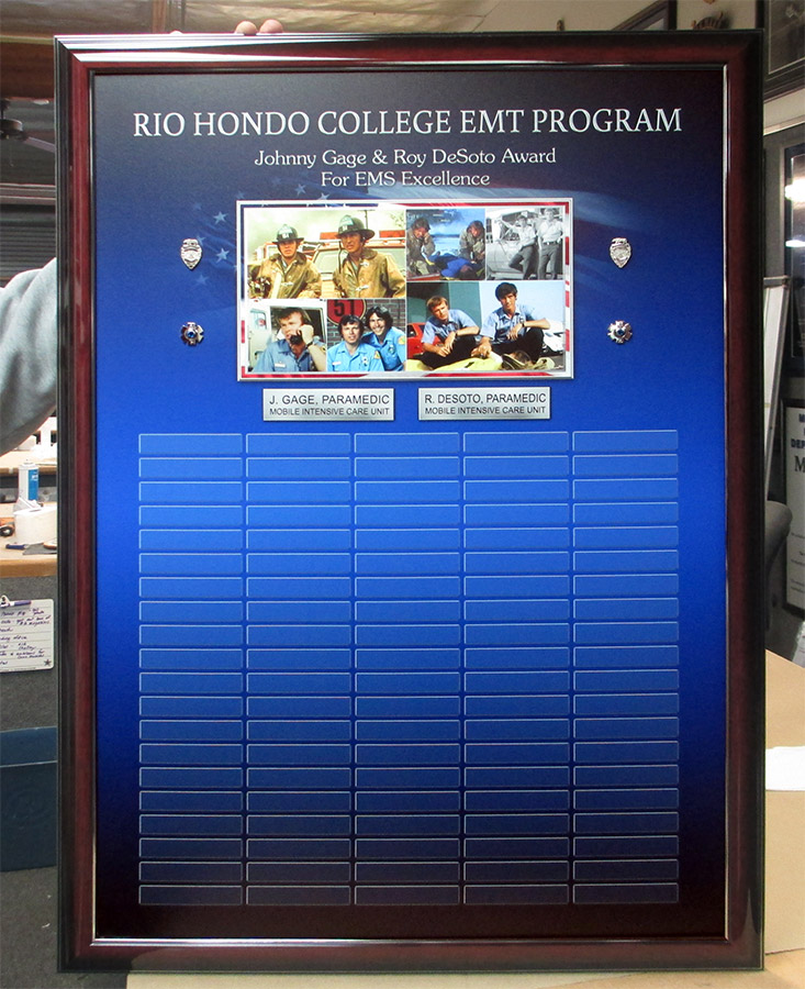 Rio Hondo EMT perpetual Plaque from Badge Frame