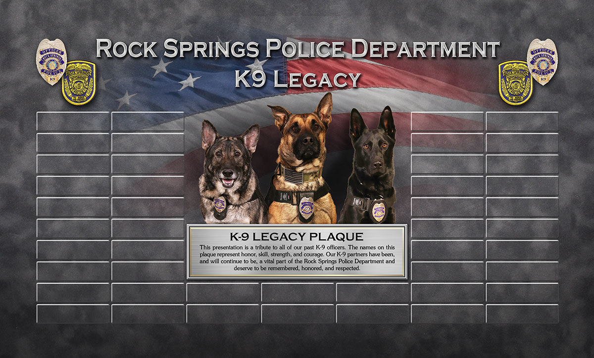 Rock Prings PD - K-9 Legacy Perpetual Plaque