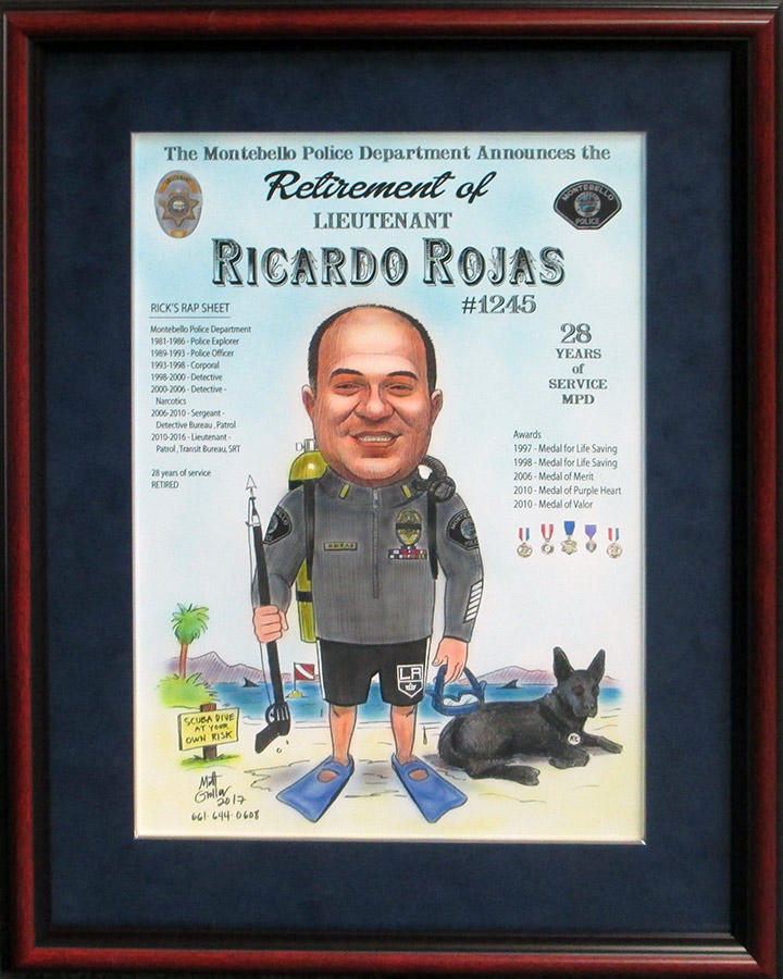Rojas Caricature framed by Badge Frame