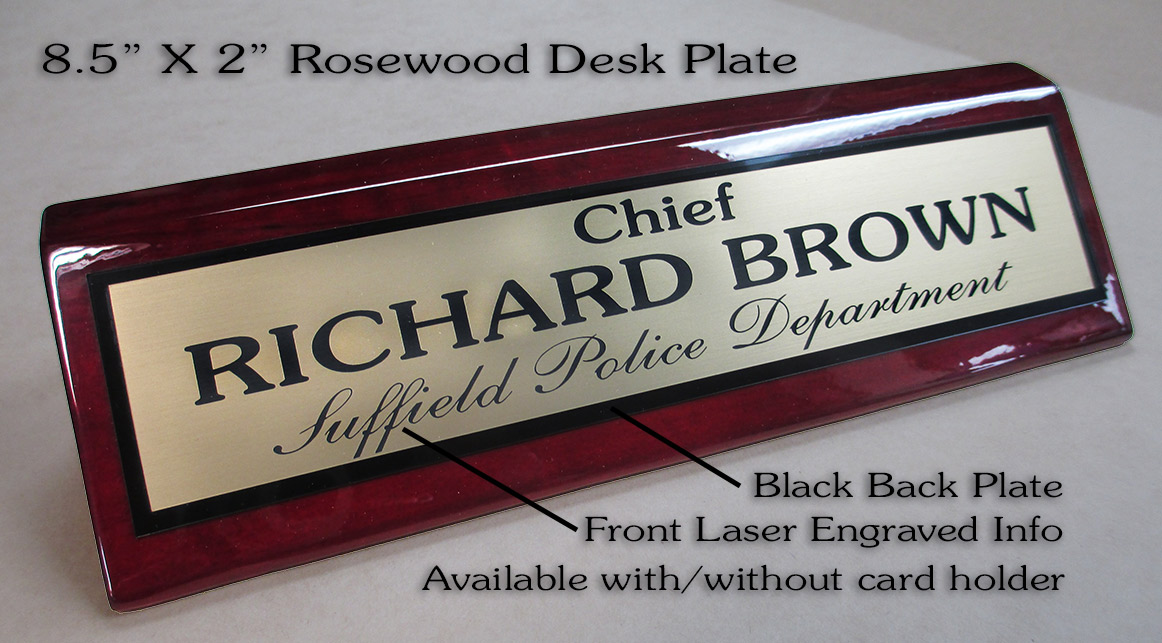 Rosewood Desk Plate with laser engraved names from Badge Frame