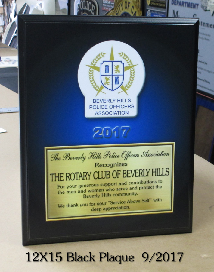 Beverly Hills PD Recognition Plaque for Rotary from Badge Frame